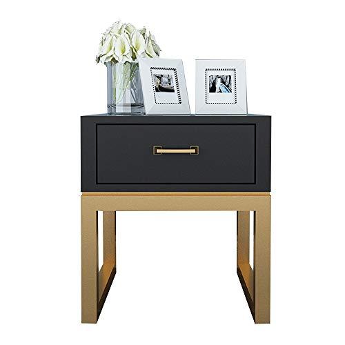 ZR Table Murale- Table D'appoint, Table de Nuit Blanche Fer Forgé, Lampe Table Bois Massif Casier Multifonctionnel -économiser de l'espace (Couleur : Noir)