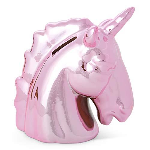 Tri-Coastal Design - Salvadanaio a Forma di Unicorno in Ceramica - Ideale per Idee Regalo o Come Decorazione di Mobili e Scrivanie - Grande e Capiente - 15x15x20 cm - 300 g (Pink)