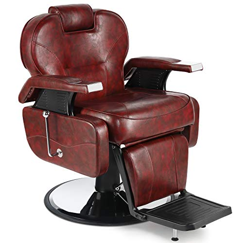 Artist Hand Barber Chair Hydraulic Recline Barber Chairs Salon Chair for Hair Stylist Tattoo Chair Heavy Duty Barber Salon Equipment (Burgundy/Red)