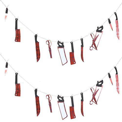 ハロウィーンパーティーの装飾|ハロウィンパーティーのテーマパーティー、お化け屋敷の2個の怖いエイプリルフール小道具ハロウィーンの血まみれの武器ステージ小道具。