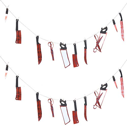 Cuque Halloween Decorations, 2Pcs Halloween Bloody Weapon Garland Banner Halloween Zombie for Party Decorations