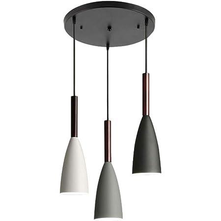 Suspension LED nordique, plafond suspendu 3 lumières macaron en métal, douille E27, luminaire de cuisine, base ronde réglable 90cm, suspension AC 90-265V