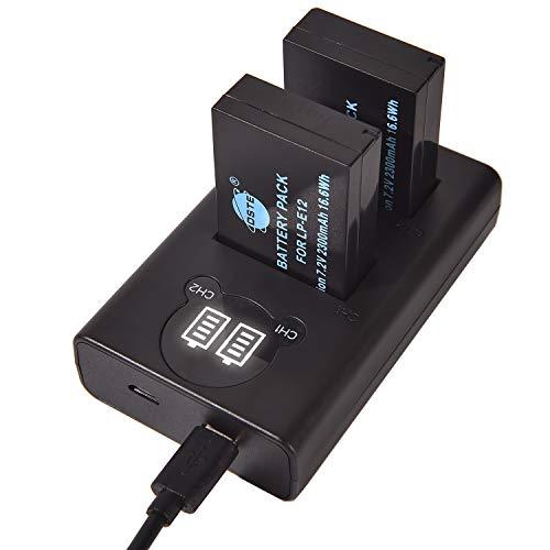 DSTE LP-E12 Batería Recargable (Paquete de 2) y Cargador USB Dual LED Inteligente compatibles con Canon EOS M100, Rebel SL1, EOS 100D, EOS M, EOS M2, EOS M10