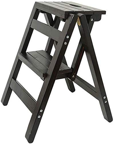 GUOXY Multifunktions-Stehleiter/Leiter-Folding 2-Hocker Stuhl Leiter, Holzleiter, Leiter Schritt, Großer Garten Hocker Höhe 52 cm Hohe Traglast Max. 150 Kg,Schwarz,Schwarz