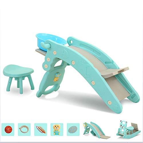 JTYX 3 in 1 Kinder Schaukelpferd Rutsche Shampoo Bett Indoor Home Multifunktions Baby Trojan Schaukel Wiegen Spielzeug mit Musik,Green1