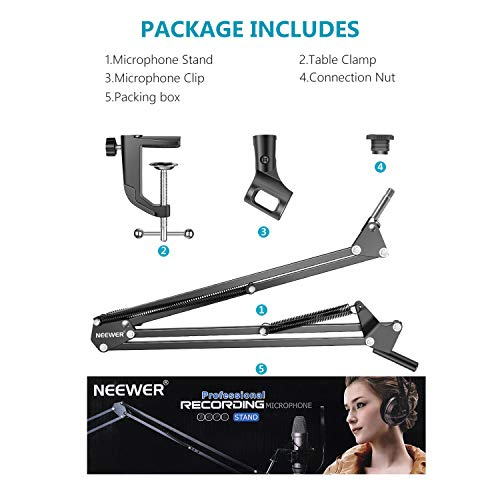 NEEWER Adjustable Microphone Suspension Boom Scissor Arm Stand, Max Load 1 KG Compact Mic Stand Made of Durable Steel for Radio Broadcasting Studio, Voice-Over Sound Studio, Stages, and TV Stations