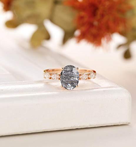 Natural Black Rutilated Quartz Engagement Ring, Rose Gold Prong Wedding Ring,Bridal Ring, Anniversary Gift Sterling Silver Ring Women Dainty Engagement Ring Anniversary Birthday Gift Handmade Jewelry