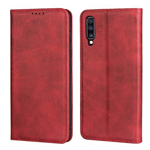 Copmob Coque Samsung Galaxy A70,Flip Portefeuille Étui en Cuir,[3 Fentes][Fonction de Support][Fermeture magnétique],Housse Etui à Rabat pour Samsung Galaxy A70 - Rouge