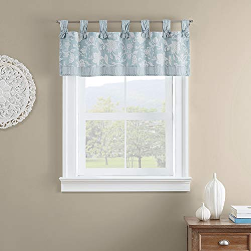 Waverly Stencil Vine Short Valance Small Window Curtains Bathroom, Living Room and Kitchens, 52' x 18', Spa
