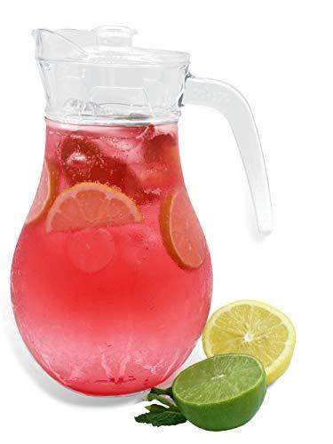 Vivalto 1,8L Glaskaraffe mit Deckel und Ausgießer, Wasserkaraffe, Eisteekrug, für Getränke zu Hause/Eistee/Kaltmilch/Wein