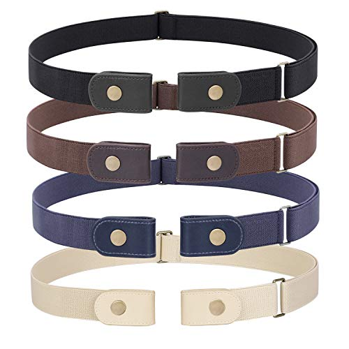 4 Pieces No Buckle Stretch Belt for Women Men, WHIPPY Buckle Free Invisible Elastic Waist Belts (Black Khaki Blue Beige, Fit Pants Size 22-36 Inches)