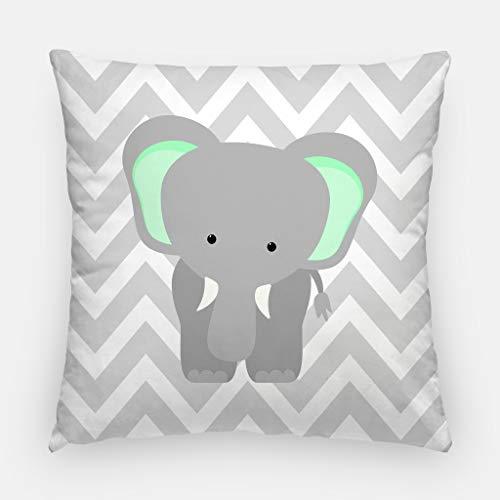 Coussin éléphant - Menthe et gris - Zoo - Décoration de chambre d'enfant - Animaux de safari