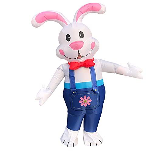 Hao-zhuokun Disfraz de Conejito Inflable,Conejo de Regalo de Traje de Cosplay,Decoraciones de Patio inflables de Pascua,Juguete de Disfraz al Aire Libre de Conejito