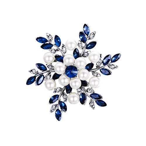 Ever FAIT - Broche con diseño de flor de copo de nieve con diamantes de imitación y perlas de imitación, color azul y plateado