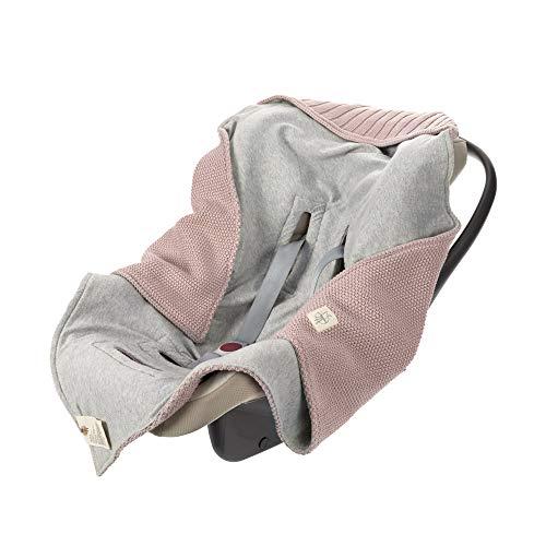 LÄSSIG Baby Strickdecke für Autositz Autositzdecke Einschlagdecke Babyschale 100% Bio-Baumwolle GOTS dusky pink