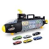 Soulitem sottomarino squalo giocattolo con 6modelli in metallo lega auto portatile di archiviazione giocattoli per bambini con vetrini