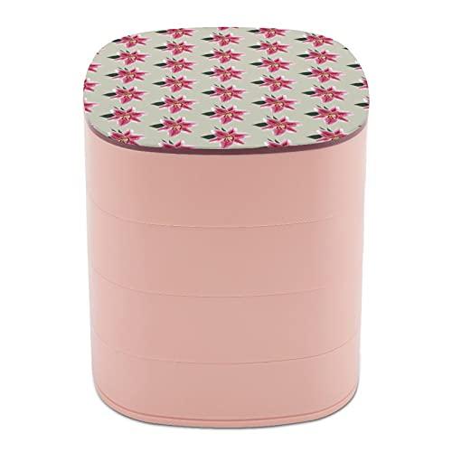 Rotate The Jewelry Box Stampa Naturale Zoom Lily Spots Petali Multi-strato Design Gioielli Organizer Box con specchio per donne ragazza e bambini