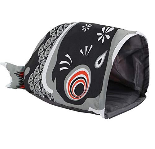 Dierbenodigdheden cartoon afdrukken kat slaapzak vis-vormige tunnel bed waterdichte vier seizoenen kat kussen slaaphuis kennel kat benodigdheden