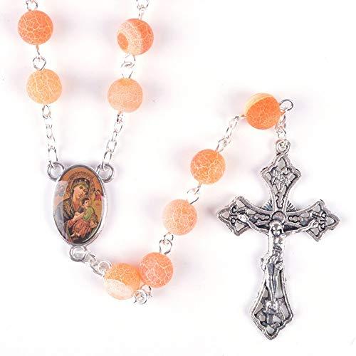DADATU Religioso Esmerilado Cuentas De Piedra Naranja Nuestra Señora del Perpetuo Socorro Collar De Rosario Católico