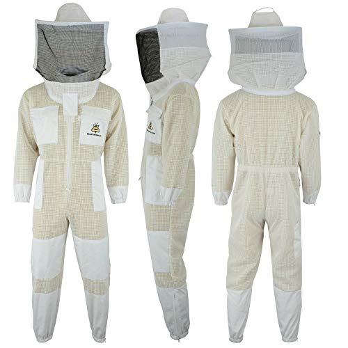 Bee Suit Combinaison d'abeille 3 Couches Ultra ventilée de Protection de sécurité Unisexe en Tissu Blanc en...