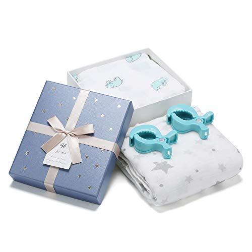 Mr.do® Mantas Envolventes de Muselina de Bambú Algodón 120x120cm Niños o Niñas Recién Nacidos Cochecito de Enfermería Manta de Asiento de Carro con 2 clips y Caja de Regalo para el Nacimiento del Bebé