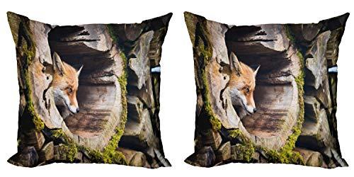 ABAKUHAUS Animal Set de 2 Fundas para Cojín, Peluda Criatura exótica, con Estampado en Ambos Lados con Cremallera, 60 cm x 60 cm, Broncearse