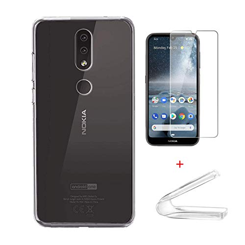 LulivoStore Custodia in Gomma + Pellicola in Vetro per Nokia 4.2 (Trasparente)