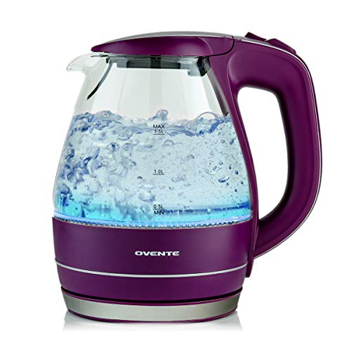 Ovente Portable Electric Glass Kettle 1.5 Liter with Blue LED Light and Stainless Steel Base, Fast Heating Countertop Tea Maker Hot Water Boiler with Auto Shut-Off & Boil Dry Protection, Purple KG83P