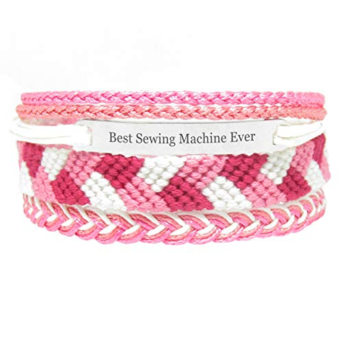 Miiras Job Handmade Bracelet for Women - Best Sewing Machine Ever - Pink - Made of Embroidery Thread and Stainless Steel - Gift for Sewing Machine