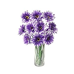 Rae's Garden Artificial Flowers Realistic Fake Flowers Gerbera Daisy Bridal Wedding Bouquet for Home Garden Wedding Party Decorations 10 Pcs (Dark Purple)