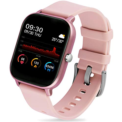 "GerbGorb SmartWatch Android IOS Sportuhren Fitnesstracker 1.4"" Touch Screen Aktivitätstracker Pulsuhr IP67 Wasserdicht Uhr mit Schlafmonitor/Musiksteuerung Armbanduhr für Damen Herren,Rosa"