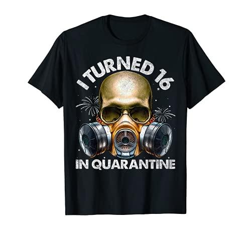 I Turned 16 In Quarantine Skull Quarantined 16th Birthday T-Shirt