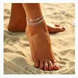 Nynicorny Anklet Bracelets Boho Crystal Lovely Glitter Foot Bracelet Bead Anklets Chain Jewelry Accessories for Women and Girls(Silver)…