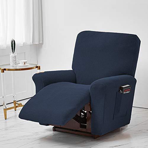 Coprisedia reclinabile in tessuto jacquard, in poliestere elasticizzato per sedie reclinabili, copridivano, fodera con tasca laterale elastica per soggiorno, colore blu