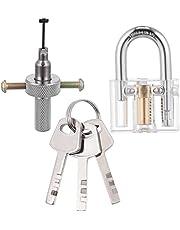 1 Set Transparante Blades Hangslot met Disc Detainer Lock Pick Gereedschap met 3 Sleutels Auto Tool Kit