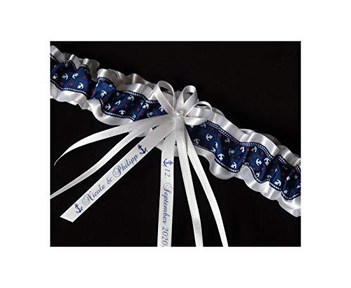 Candle making Strumpfband Anker Weiss Marine blau mit Namen Datum