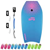 BPS 41' Boogieboard for Surfing with Swim Flippers Leash and Body Board Leash for Arms (Light Blue/Purple)