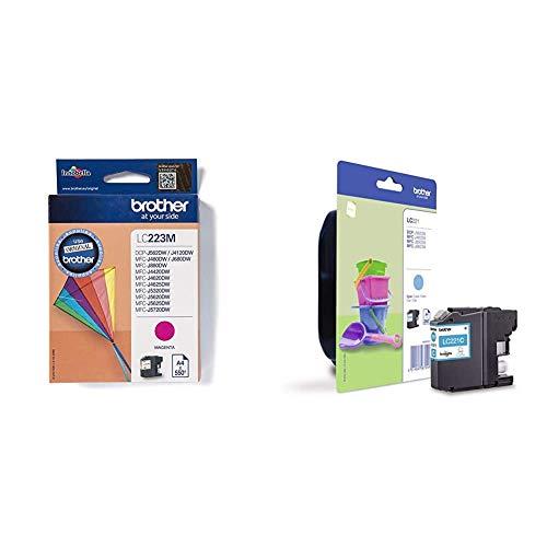 Brother LC223M - Cartucho de tinta, color magenta + LC221CBP Cartucho de tinta cian original para las impresoras DCPJ562DW, MFCJ480DW y MFCJ880DW