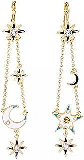 Sisfrog Moon and Star Earrings for Women and Girls Asymmetric Earrings Metal Drop Dangle Charm Earrings, Birthday, Easter ...