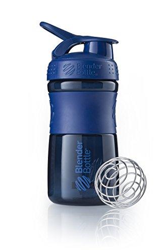 BlenderBottle Sportmixer Botella de agua   Botella mezcladora de batidos de proteínas   con batidor Blenderball   libre de BPA   Tritan  590ml - navy