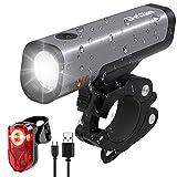 Deilin Fahrradlicht Set, LED Fahrradbeleuchtung 2600mAh Akku USB Wiederaufladbare umschaltbar 50/30 Lux, Fahrradlampe IPX5 Wasserdicht, StVZO Zugelassen Frontlicht und Rücklicht Set