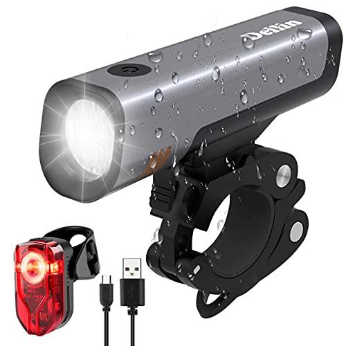 Deilin Fahrradlicht Set, LED Fahrradbeleuchtung 2600mAh Akku USB Wiederaufladbare umschaltbar 50/30 Lux Fahrradlampe IPX5 Wasserdicht StVZO Zugelassen