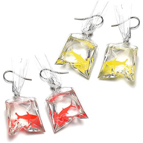 inherited 4 piezas Pendientes divertidos, Pendientes Goldfish, Funny de peces bolsa de agua forma Dangle gancho pendientes encanto mujeres joyas regalo(Rojo + amarillo)