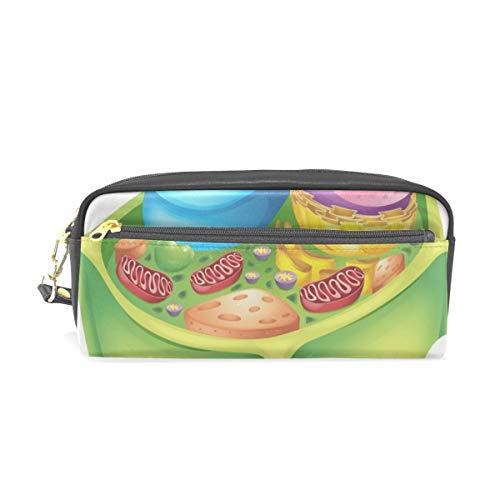 Green Plant Cell Biology Microscope Pattern Pen Cases Organizer PU Leather Comestic Makeup Bag Make up Pouch