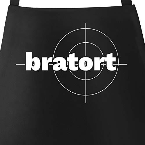 MoonWorks Bratort Grill-Schürze für Männer mit Parodie-Motiv Küchen-Schürze schwarz Unisize