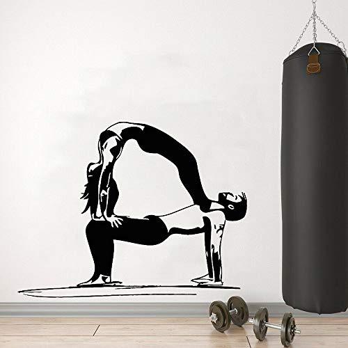 BFMBCH Yoga paar gesundheit gym wandaufkleber dekoration fitness center wohnzimmer moderne schlafzimmer dekorieren vinyl wandaufkleber a2 57x74 cm