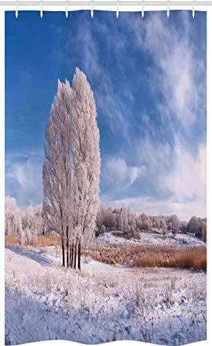 ABAKUHAUS Natur Schmaler Duschvorhang, Winter Schnee Landschaft, Badezimmer Deko Set aus Stoff mit Haken, 120 x 180 cm, Avocadogrün Türkis