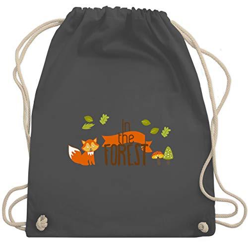 Shirtracer Wildnis - In the Forest Wald Fuchs - Unisize - Dunkelgrau - lässig turnbeutel kindergarten - WM110 - Turnbeutel und Stoffbeutel aus Baumwolle
