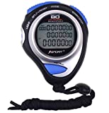 Digital Stopwatch Timer Three Row Display Athletics Racing Stopwatches with 80 Lap Memory Split Time for Sports Coaches and Referees