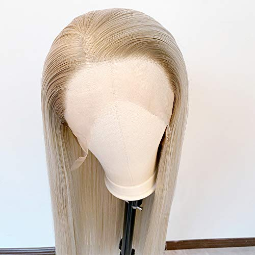 """Long Straight Blonde Wig Ombre Wig Synthetic Lace Front Wig Side Part Wig 2 Tone Color Heat Resistant Wigs for Women Daily Party Use 30 """""""
